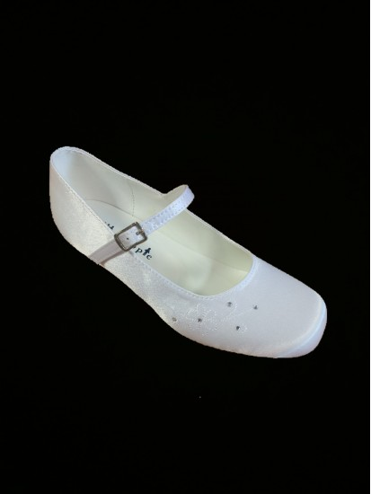 Satin Snow White Shoes with a small heal to suit a wide range of First Comm...