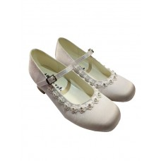 Satin Snow White Shoes with a small heal with white flower and diamante around the front ideal for First Holy Communion