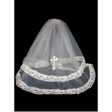 21' Layered veil with diamantine detail  in White Ideal For Communion