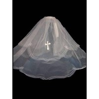 21.5' layered veil with diamantine detail on the cross and the edges  in White Ideal For Communion