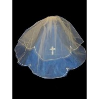 20' Layered Veil in White Ideal For Communion