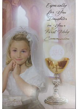 Daughter First Holy Communion Card: with lovely verse