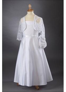 Lace Bodice & Satin A-Line Skirt Communion Dress: