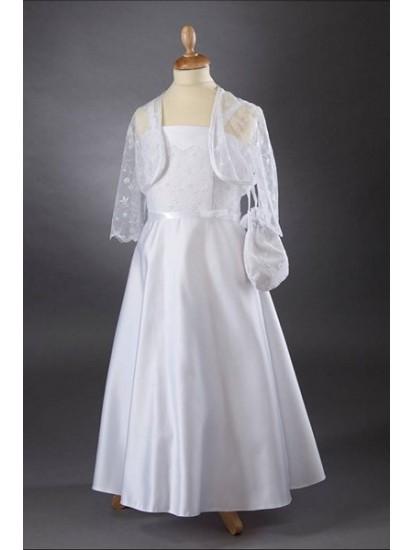 Lace Bodice & Satin A-Line Skirt Communion Dress:...
