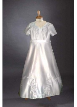 Full length Georgette Chiffon with frilled sleeve, round neck Holy Communion dress :