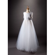 Full length Empire Line with sleeveless, Round neck Communion dress with decorative bodice and Puffball net skirt with wired hem. Flower detail on waist band. :