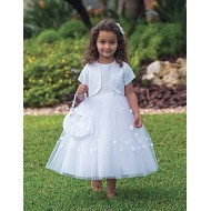Ballerina Length Holy Communion Dress with bolero and bag: