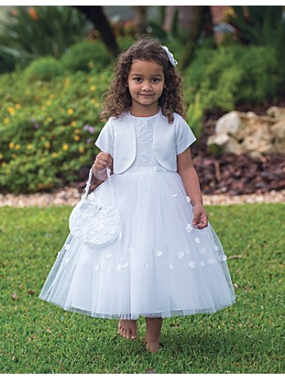 Ballerina Length Holy Communion Dress with bolero and bag:...