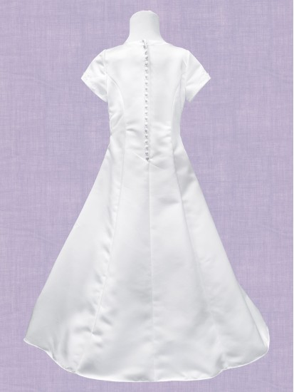 Satin A Line Holy Communion Dress:...