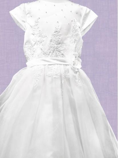 Flared Satin & Net First Holy Communion Dress:...