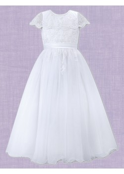 White Ankle length with round neck sleeveless Communion Dress: