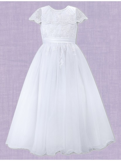 White Ankle length with round neck sleeveless Communion Dress:...
