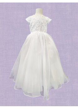 White Ankle length with round neck and capped sleeve with embriodery net bodice and flaired net skirt