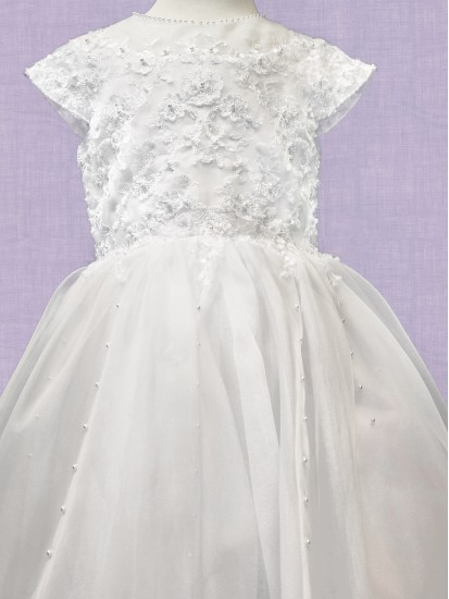 Full Length Communion Dress with round neck and capped sleeve:...