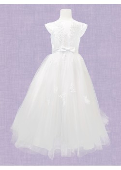 White Ankle length with round neck and capped sleeve with embriodery on bodice with satin waist band with a bow and embroidery on skirt