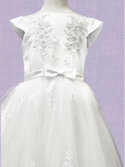 First Communion Dress with capped sleeve:...