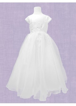 Holy Communion Dress with round neck and capped sleeve with enbriodery along bodice and waist: