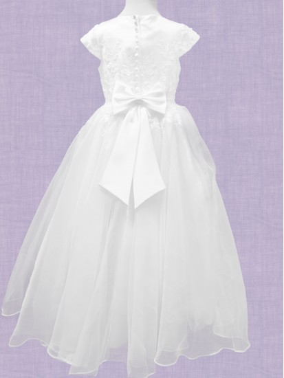 Holy Communion Dress with round neck and capped sleeve with enbriodery alon...