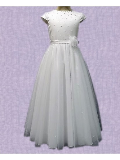 Net Skirt full length Communion Dress...