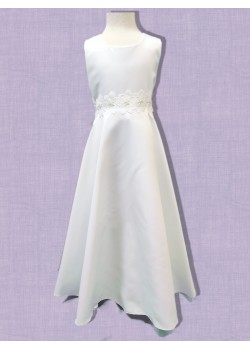 Satin Round neck sleeveless T length Communion Dress:
