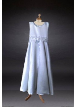 Satin Bodice Round Neck Cap sleeves T length Communion Dress::