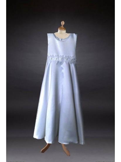 Satin Bodice Round Neck Cap sleeves T length Communion Dress::...