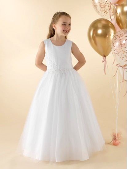 First Holy Communion dress with a pleated tulle bodice:...