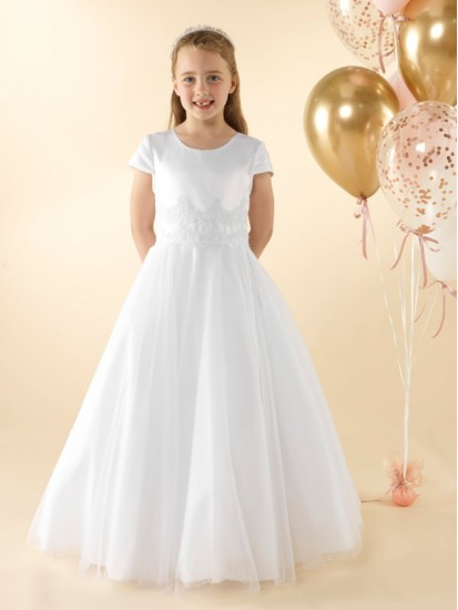 Holy Communion Dress with capped sleeves. :...