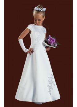 Capped Sleeved Full Length Round Neck Satin Holy Communion Dress