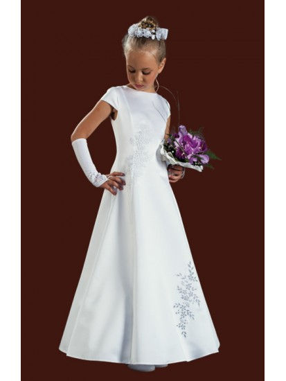 Capped Sleeved Full Length Round Neck Satin Holy Communion Dress...