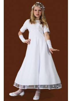 Ballerina Length Round Neck Holy Communion Dress with sleeves: