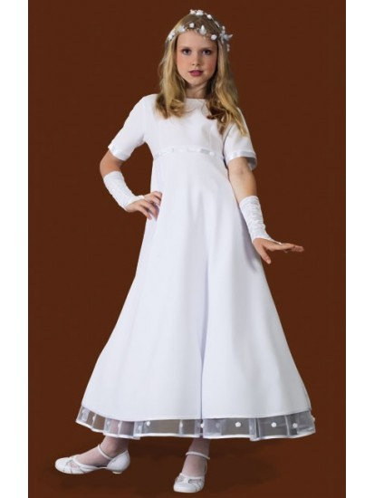 Ballerina Length Round Neck Holy Communion Dress with sleeves:...
