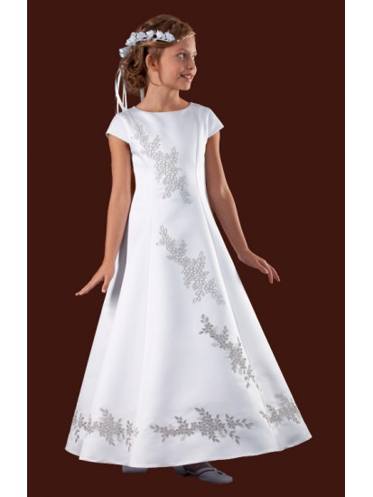 Beautiful Design on the front and back of Full Holy Communion Dress:...