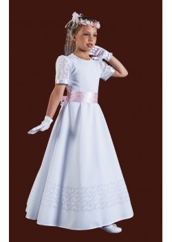 Beautiful Long Plain Holy Communion Dress with round neck and short sleeves :