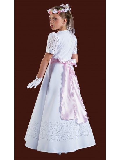 Beautiful Long Plain Holy Communion Dress with round neck and short sleeves...