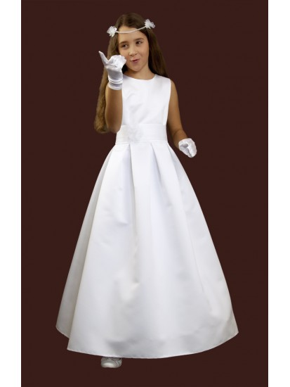Elegant simple communion dress without sleeves, sewn from a wedding fabric....