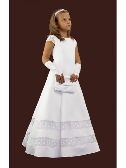Satin communion dress with lace inserts and sleeves.Fashion with wedges, e...