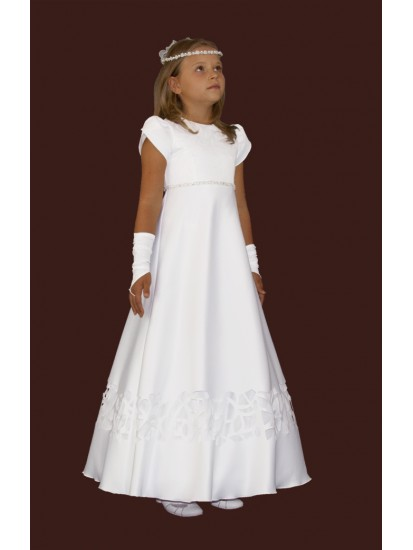 Satin First Holy Communion Dress:...