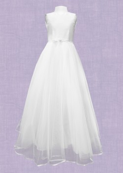 Mikado Swiss Tulle Dress Round necked sleeveless dress: Waisted with flair net skirt and satin hem:
