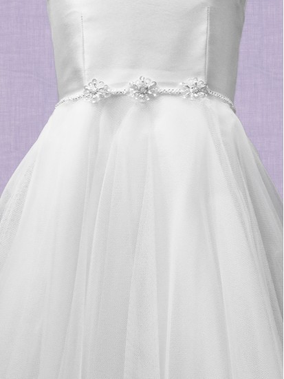 Mikado Swiss Tulle Dress Round necked sleeveless dress: Waisted with flair ...