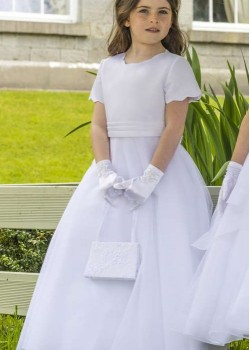 White ankle length Satin Dress with full skirt and bolero jacket with Scalloped Neckline and short sleeve