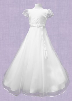 Beautiful White Satin Round Neck Bodice with Net sleeves and flaired net skirt: