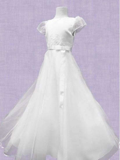 Beautiful White Satin Round Neck Bodice with Net sleeves and flaired net sk...