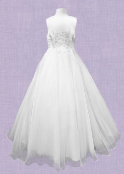 Sleeveless white satin/tulle Communion dress with Embroidery on bodice and flaired skirt: