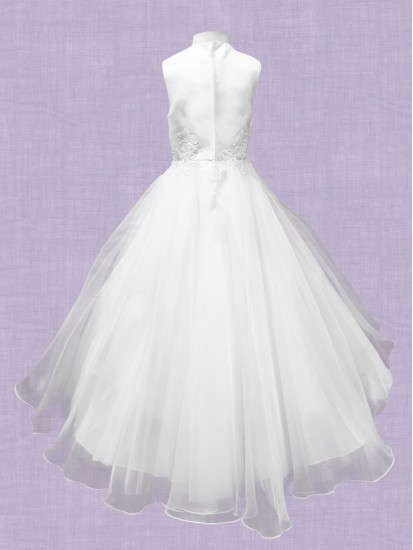 Sleeveless white satin/tulle Communion dress with Embroidery on bodice and ...