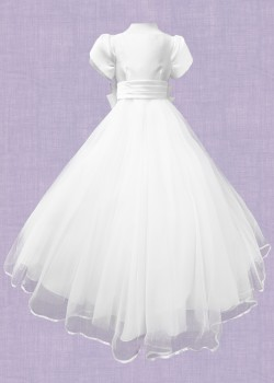 Short Puffed sleeved Mikado and Tulle Dress with satin bodice and broad waistband details with Bow at the back: