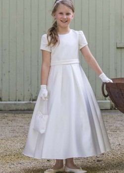 White satin ankle length dress with short sl with Pleated Skirteeves with round neck and waist band with Pleated Skirt