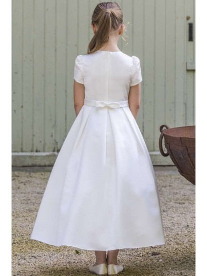 White satin ankle length dress with short sleeve with Pleated Skirt and rou...