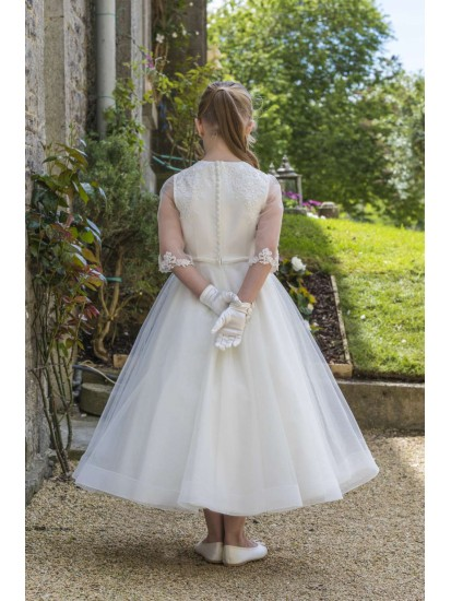 White Round Necked, Three quarter length Beaded Lace and Tulle Dress with l...