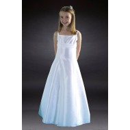 Communion Dress with Taffeta and Band & Beaded Bodice: